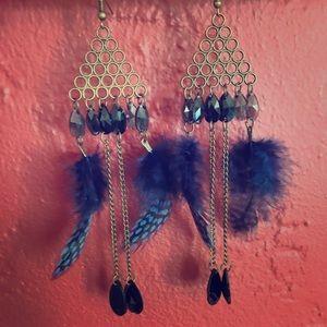 Deep blue art deco feather earrings